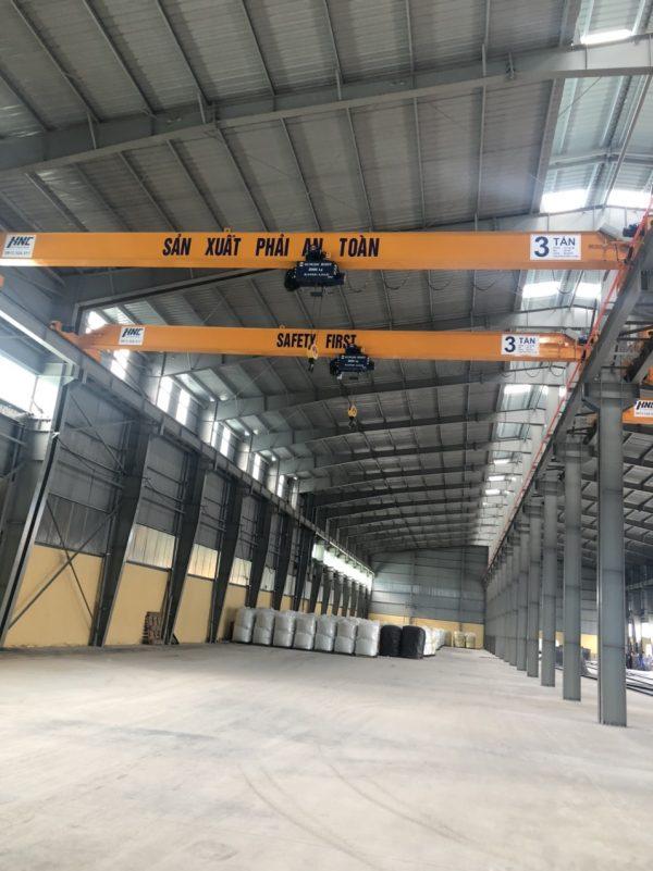 cầu trục dầm đơn 3 tấn nhà xưởng ô tô vĩnh phúc