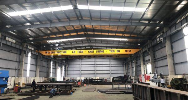 Cầu trục dầm đơn 5 tấn xưởng kết cấu thép Bắc Ninh