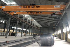 cầu trục dầm đơn 5 tấn nâng hạ thép tại hải dương