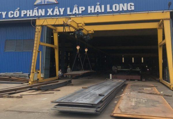 Cổng trục dầm đôi 6 tấn 2 palang xây lắp Hải Long
