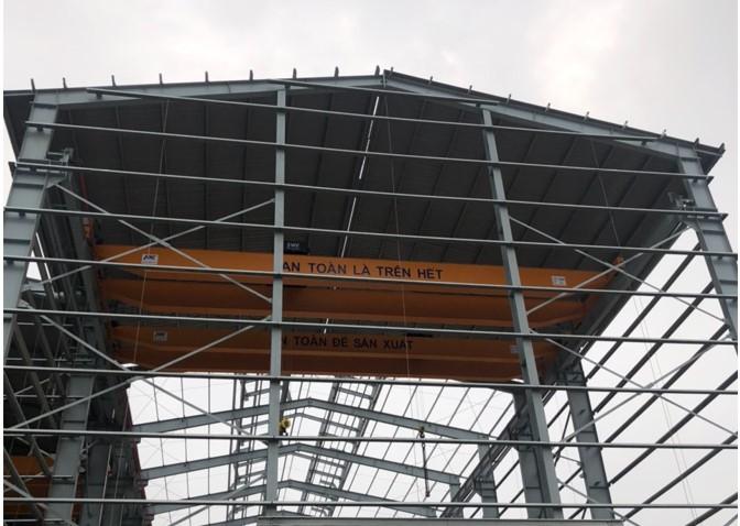 Cầu trục dầm đôi 10 tấn lắp đặt tại dự án: Phoenix Quartz vn kcn Tiền Hải Thái Bình