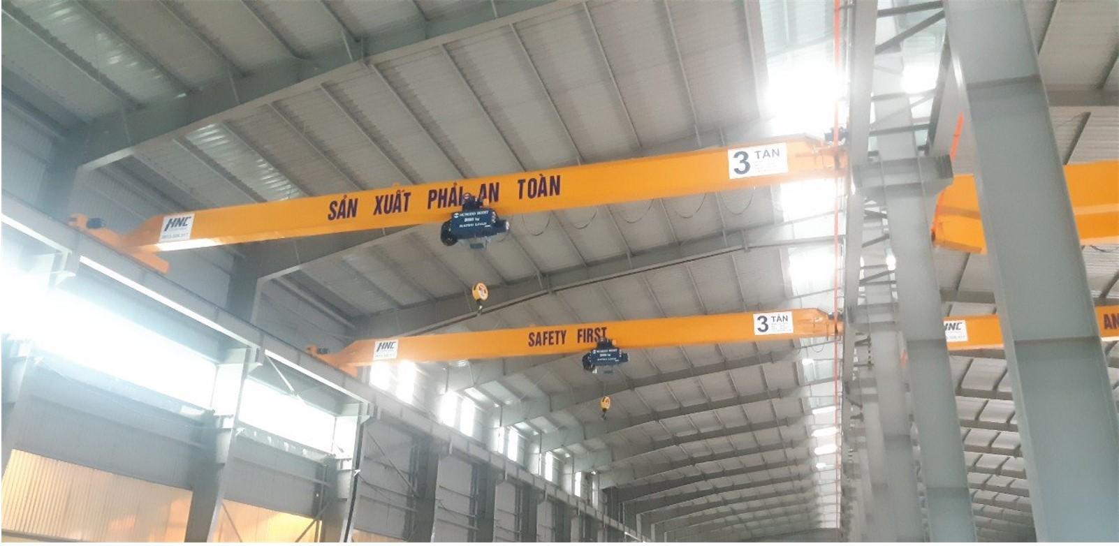 Cầu trục dầm đơn 3 tấn lắp đặt tại dự án :Vinafrit kcn Tiền Hải Thái Bình